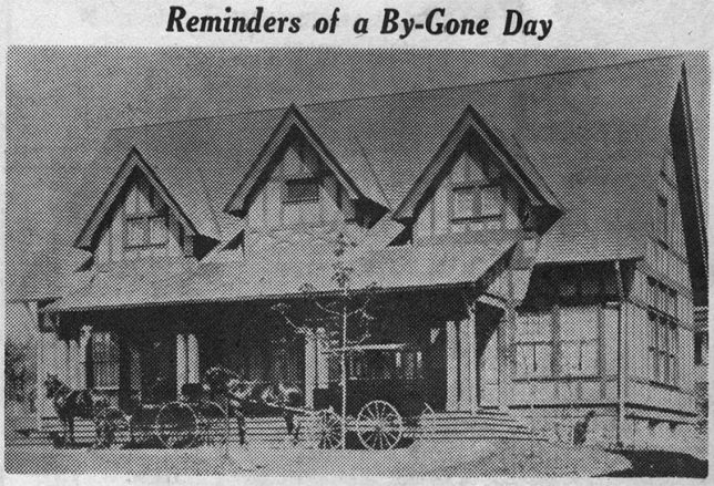 "This is a picture of the original Saturday Club house, built in 1898, as described in ""Your Town and My Town,"" in a recent issue of The Suburban. The wagonette at the left has been identified as that of the late John W. Yeatts, of St. Davids. Identification of the other vehicle would be interesting. Information would be appreciated by mrs. Patterson, Wayne 4569, for use in her column."