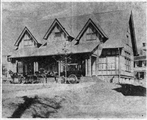 The Saturday Club House built in 1898-1899 as shown in this earliest picture, now in the possession of the Club. The two vehicles are those of club members who were probably enjoying a club program at the time. (Note the tall silk hat on the coachman in the front vehicle!)