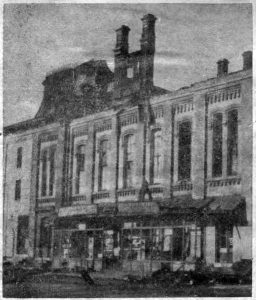 As the Opera House looked from the Lancaster avenue side on the morning of December 30, 1914, with Welsh and Park's Hardware Store in the center of the building.