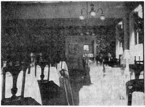 The same room as it appeared 50 years ago, as the dining room of the Waynewood Hotel, owned and operated by Charles Wood.