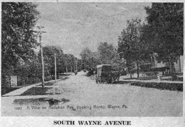 "The caption on the postcard picture reads, ""A view on Audubon avenue looking north."" It shows what is now called South Wayne avenue, looking north towards Lancaster pike from the Dr. Robert P. Elmer home, in the 1890's."