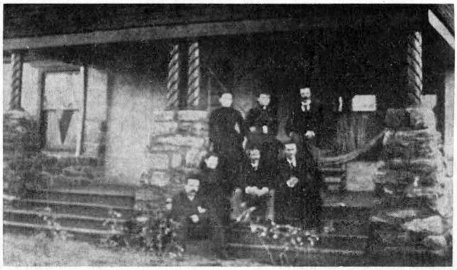 The Frederick F. Hallowell House on Walnut avenue. Top row: Mrs. Margaret Furman, Miss Field and John Hunter. 2nd row: Mrs. Hallowell, Mr. Hallowell and Norman Hunter. 3rd row: Will Hunter.