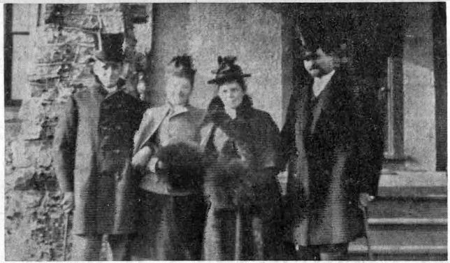 Left to right: Henry Baring Powel, Miss Blanche Smith, of Quebec; Mrs. Henry Baring Powel and DeVough Powel, of New York City. (as identified by Mrs. Johnson)