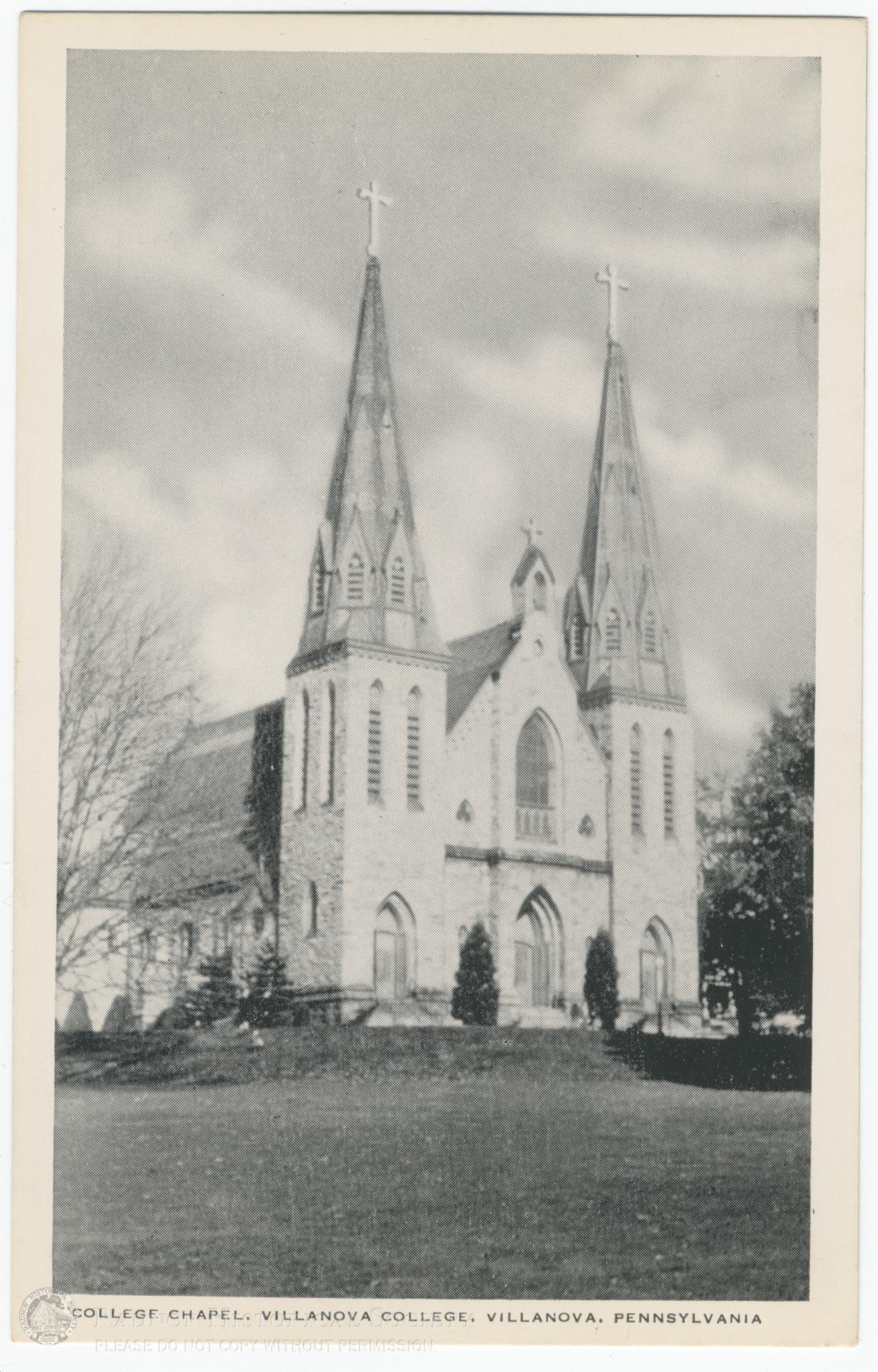 Postcard Villanova Chapel Radnor Historical Society Archive