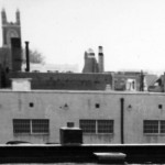 A photo taken from the roof of a nearby store shows the west facade of the Acme. (Radnor Police archives, Radnor Historical Society)