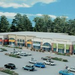 "A sign featuring this rendering on the site shows the ""Wayne Square"" concept, eliminating the Acme for a row of smaller stores. This would turn the property into more of a strip mall instead of a supermarket-focused center."
